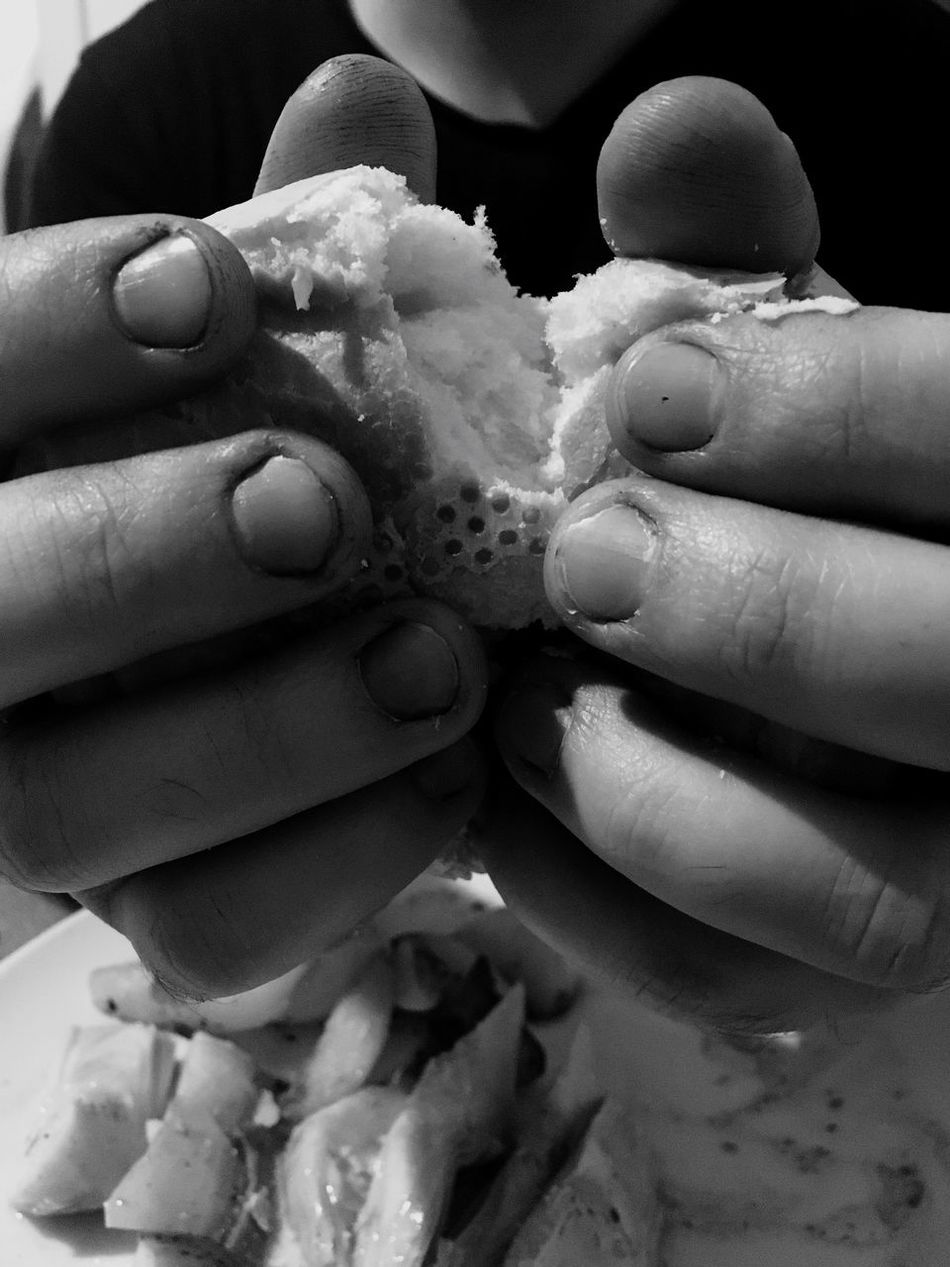 Be tender Food Human Hand Real People Human Body Part One Person Bread People IPhoneography Indoors  IPhone Blackandwhite Black And White