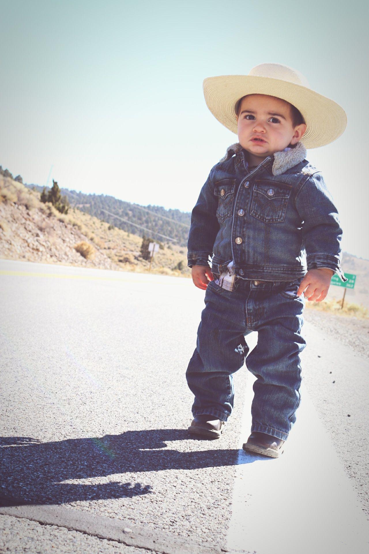 Lil Man Western Little Cowboy Child Outdoors Portrait Cowboy Hat