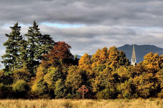 Cloud - Sky Autumn Tranquil Scene Grass Scenics Beauty In Nature LochLomond Church Spire  Culture Village