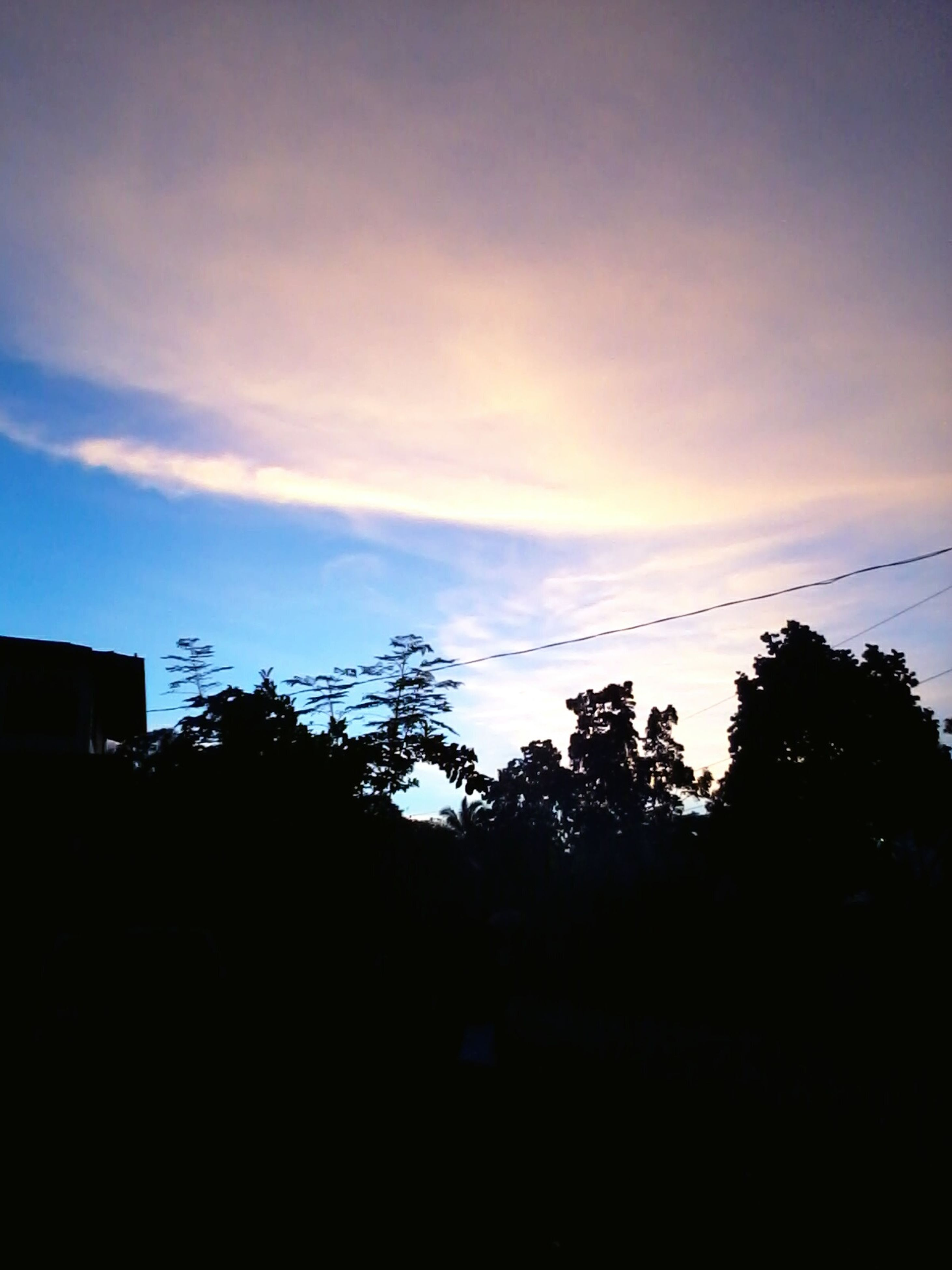 silhouette, tree, sunset, sky, low angle view, tranquility, beauty in nature, nature, tranquil scene, scenics, cloud - sky, dusk, cloud, outline, outdoors, dark, no people, growth, built structure, copy space