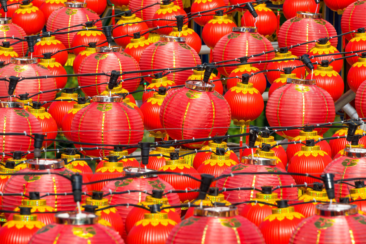 orange color, in a row, large group of objects, abundance, no people, red, hanging, chinese new year, celebration, chinese lantern festival, outdoors, full frame, lantern, day