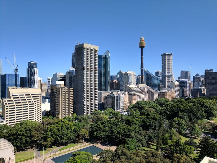 Sydney cbd skyline City Skyscraper Modern Building Exterior Urban Skyline Sky Travel Destinations Architecture Cityscape Blue Outdoors Downtown District Business Finance And Industry Clear Sky Growth Tower No People Antenna - Aerial Day