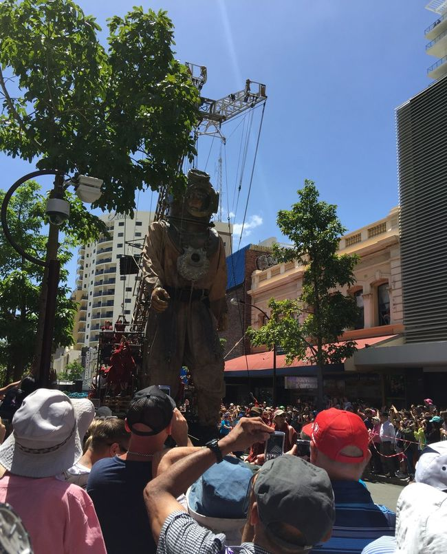 PERTH, AUSTRALIA-FEBRUARY 14, 2015: Journey of the Giants, Giant Marionette Diver, public International Arts Festival Art Art Event Australia Australianshepherd Belts And Pulleys City Cityscape Crane Crowds Culture Diver Festival Giant Human International Journey Marionette People Puppeteers Walking Winchester Wooden