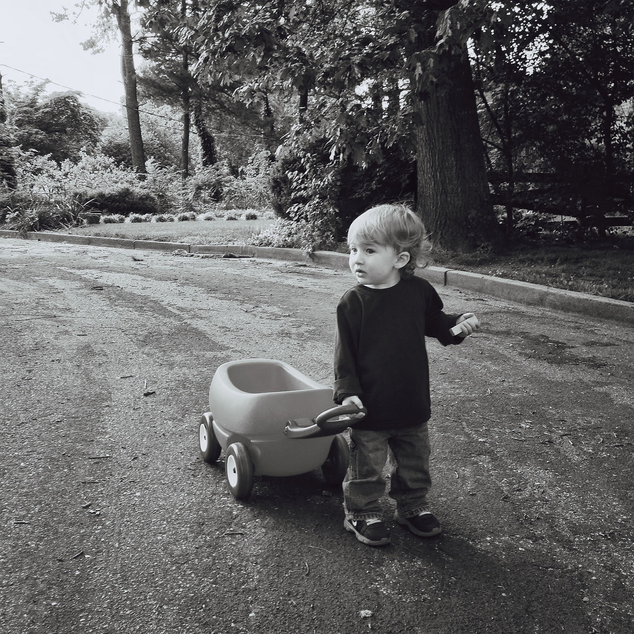 Cute Boy Pulling Go-Cart On Road