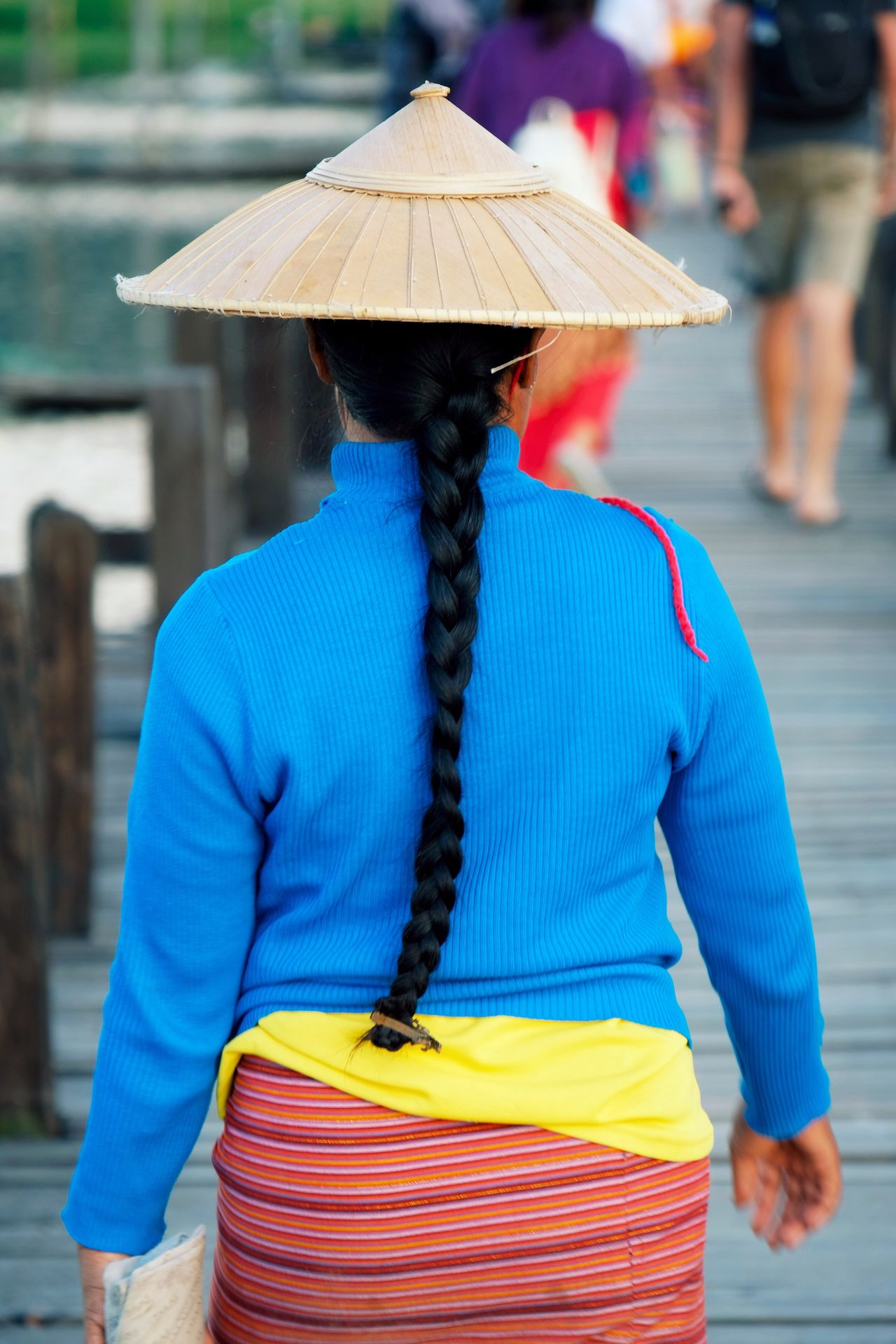 One Person Standing Rear View Focus On Foreground Outdoors Young Adult Woman Portrait Bridge Hair Day People Close-up Hat Asian Culture Cultures Travel Fashion Traditional Clothing EyeEm Best Shots EyeEm Gallery Check This Out Popular Photos in Mine Thauk , Myanmar