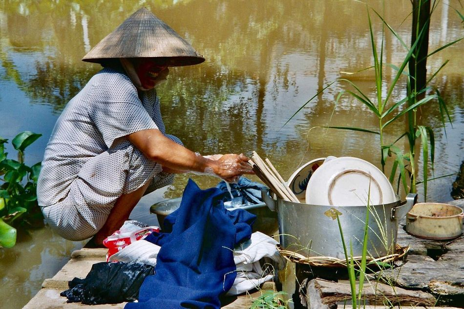 Doing The Dishes Waterside One Person Water Real People Working One Woman Only Real Life Photography Outdoors People Adult Riverside Photography Non La