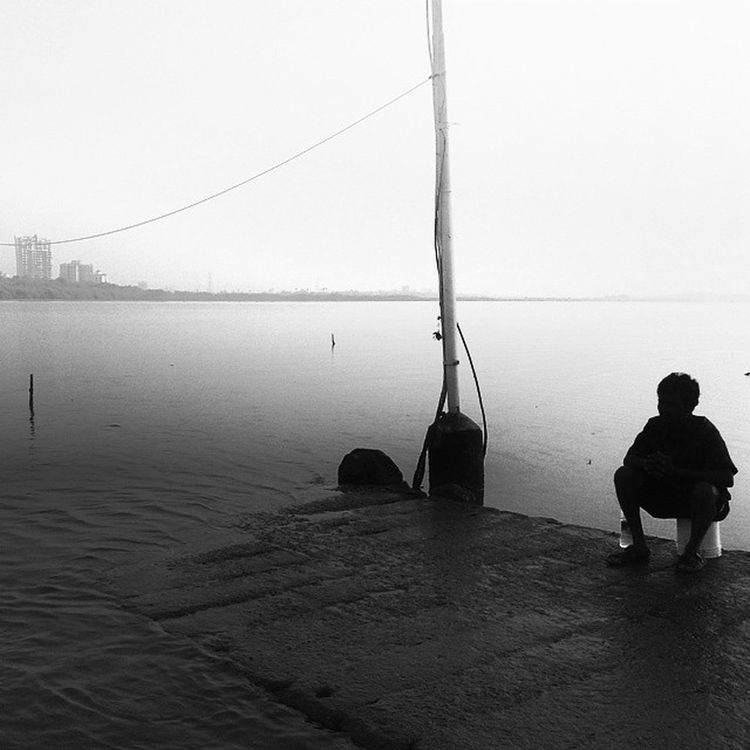 Black And White Lonely Man By  The Sea Instaclick Instatag Funtym Sis Nomorehashtags