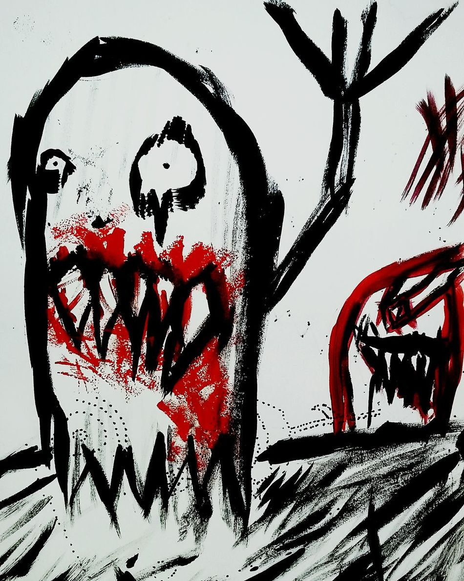 My first painting @.@ Hanging Out Art Painting Brush Pen Darkart Dank_space Check This Out Artoftheday Demons Aliensarereal Bloodgore