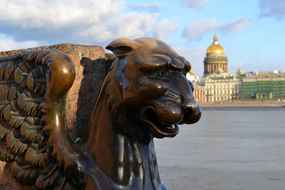 Griffin (bronze winged lion) Universitetskaya Embankment, Saint Petersburg, Russia. Art City Creativity Famous Place Focus On Foreground Griffin One History Monument No People Saint Petersburg, Russia. Sculpture Statue The Past Tourism Travel Destinations Universitetskaya Embankment Battle Of The Cities The City Light Neighborhood Map EyeEm Selects