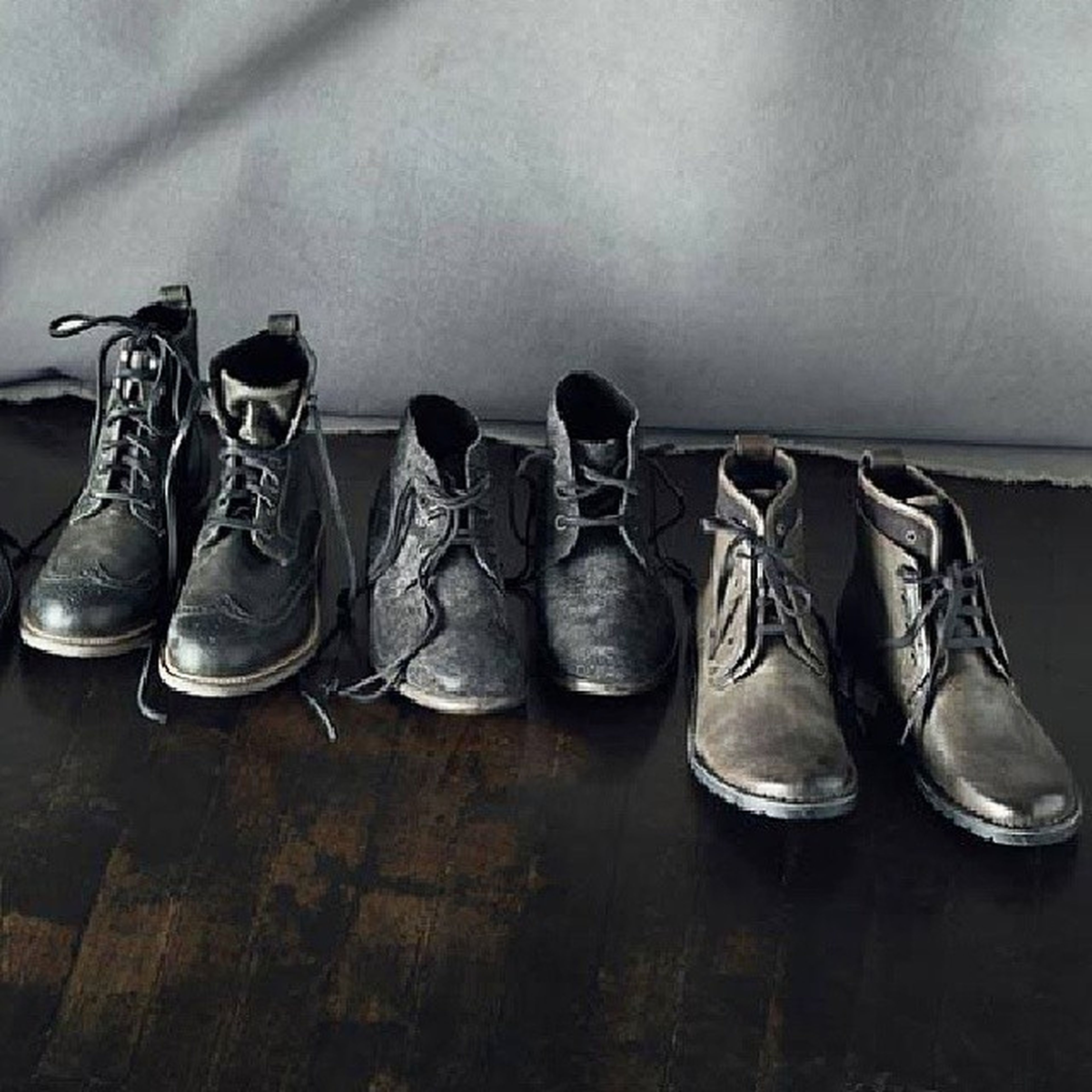 indoors, still life, table, shoe, variation, pair, close-up, fashion, absence, arrangement, side by side, high angle view, large group of objects, choice, group of objects, footwear, no people, wood - material, wall - building feature, two objects