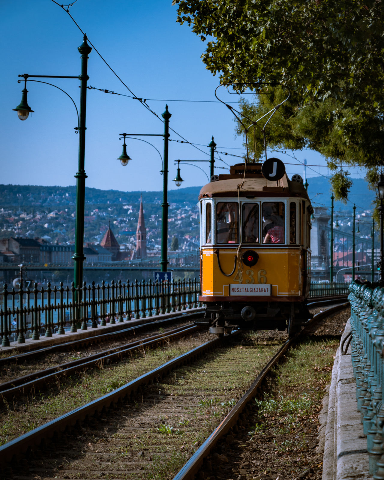 A nostalgia tram running along the Danube River. Budapest City City Life Composition Hungary Nostalgia Perspective Public Transport Public Transportation Tram Transportation
