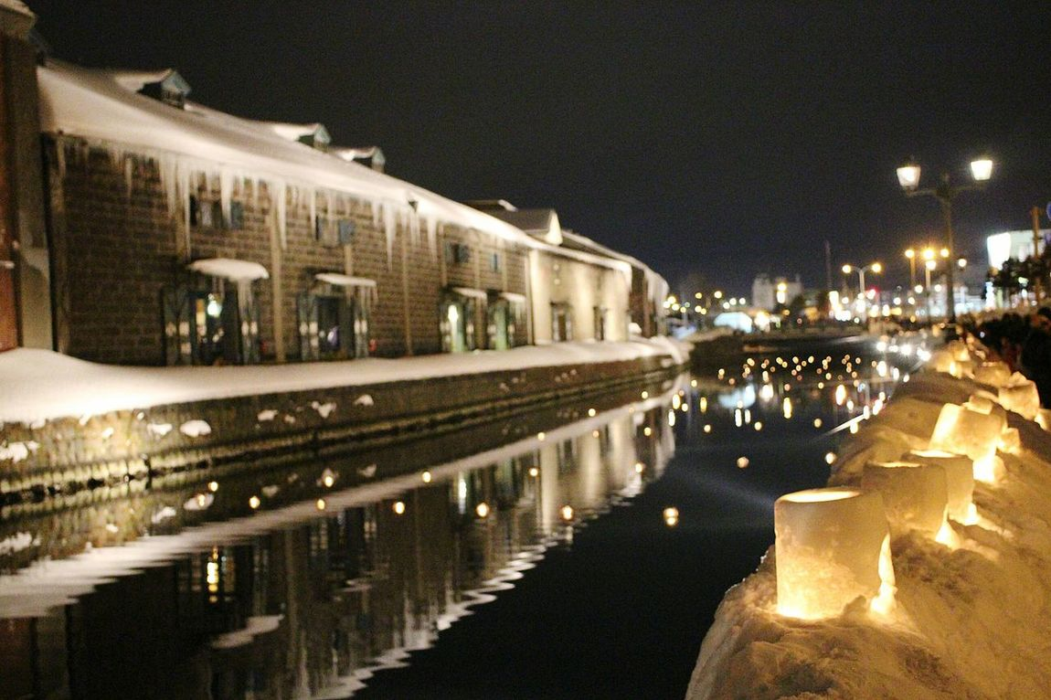 Otaru,Hokkaido,Japan Otaru Canal Snow Japan Scenery 43 Golden Moments Snow Festival Otaru Snow Light Path Reflections On Water Atmosphere Atmospheric Light Arts Snow Art Snow Candles Winter In Japan Freezing Cold Ultimate Japan Overnight Success Light And Reflection