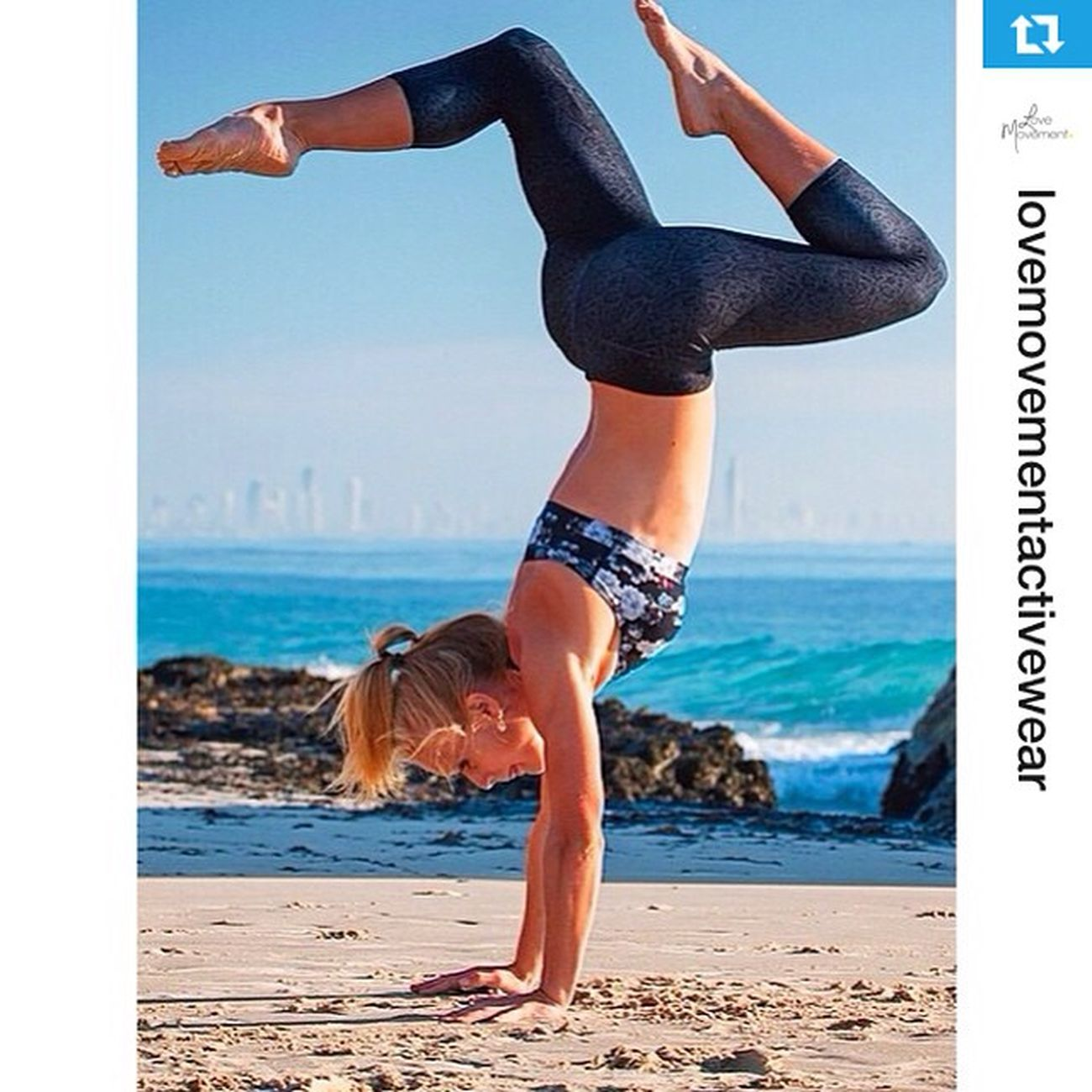Repost from @lovemovementactivewear with @repostapp of a shoot with @courtneygilfillan ... Athleticism Handstand  Triathlete ・・・