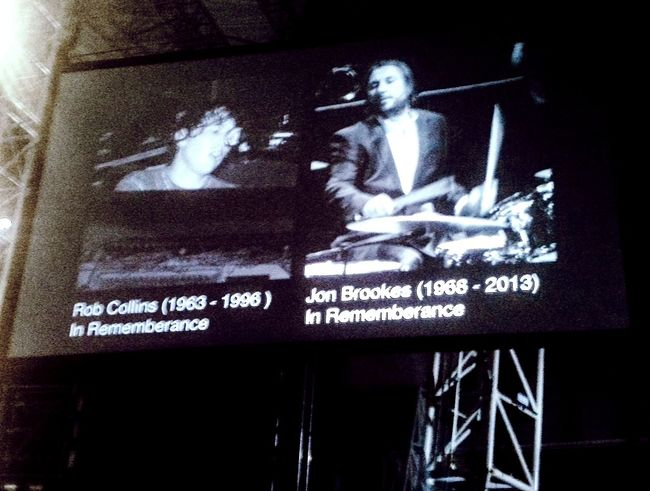 The Charlatans ex keyboard player (Rob Collins) & drummer (Jon Brookes) remembrance tribute slide at Shiiine Weekender. Indie dance party. Manchester Music The Charlatans Indie Music 90s 90s Music  Manchester Culture Music Dancing Party