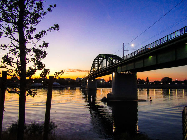 Crossing the bridge Bridges River Collection Riverside Architecture Bridge Bridge - Man Made Structure Built Structure City Connection Day Nature No People Outdoors Reflection River Sava River Silhouette Sky Sunset Tree Water