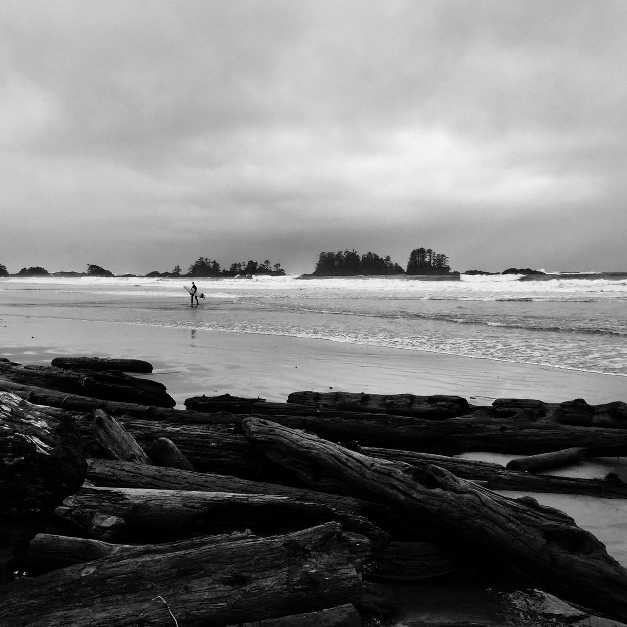 Beach Beauty In Nature Black And White Photography Cloud - Sky Day Horizon Over Water Nature No People Outdoors Rock - Object Sand Scenics Sea Shore Sky Tranquil Scene Tranquility Travel Destinations Vacations Vancouver Island Canada Water Wave