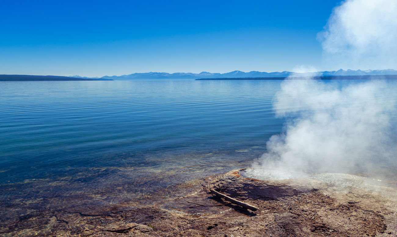 Beach Beauty In Nature Blue Boiling Water Clear Sky Copy Space Fishing Cone Geyser Horizon Over Water Landscape Morning Morning Light Nature Non-urban Scene Outdoors Scenics Shore Sky Water West Thumb West Thumb Geyser Basin Yellowstone Yellowstone Lake Yellowstone National Park Blue Wave