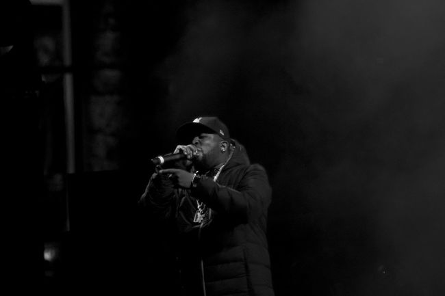 Big Grams killing it at the Burton US open Biggrams Black And White Blackandwhite Burtonusopen Concert Fog HipHop Lowlight Night Outdoor Concert Outdoors Rap Winter Showcase March