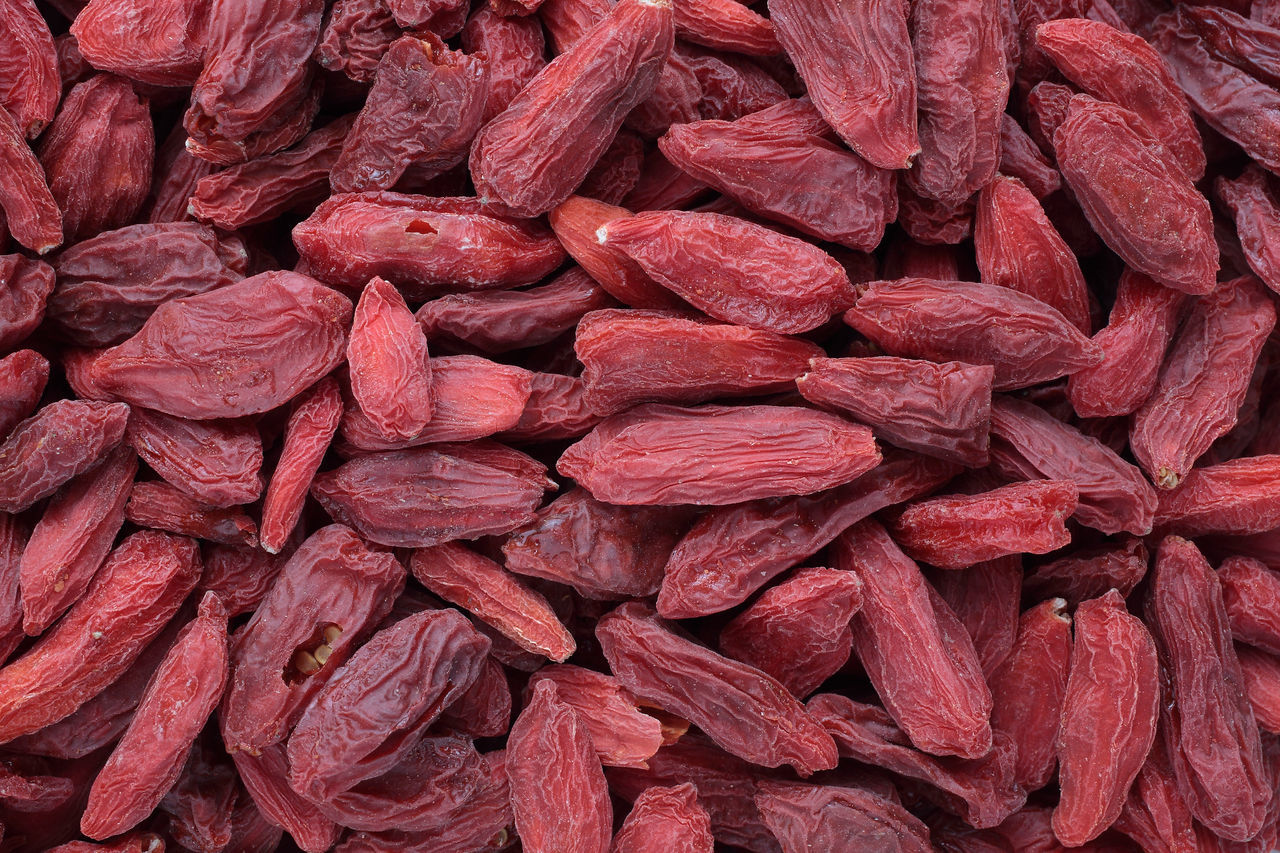 Goji berries, a fruit berry and medicinal plant Abundance Backgrounds Close-up Day Dried Fruit Food Food And Drink Freshness Fruits Full Frame Goji Gojiberries Gojiberry Healthy Eating Indoors  Ingredient Large Group Of Objects Medicinal Plant No People Red