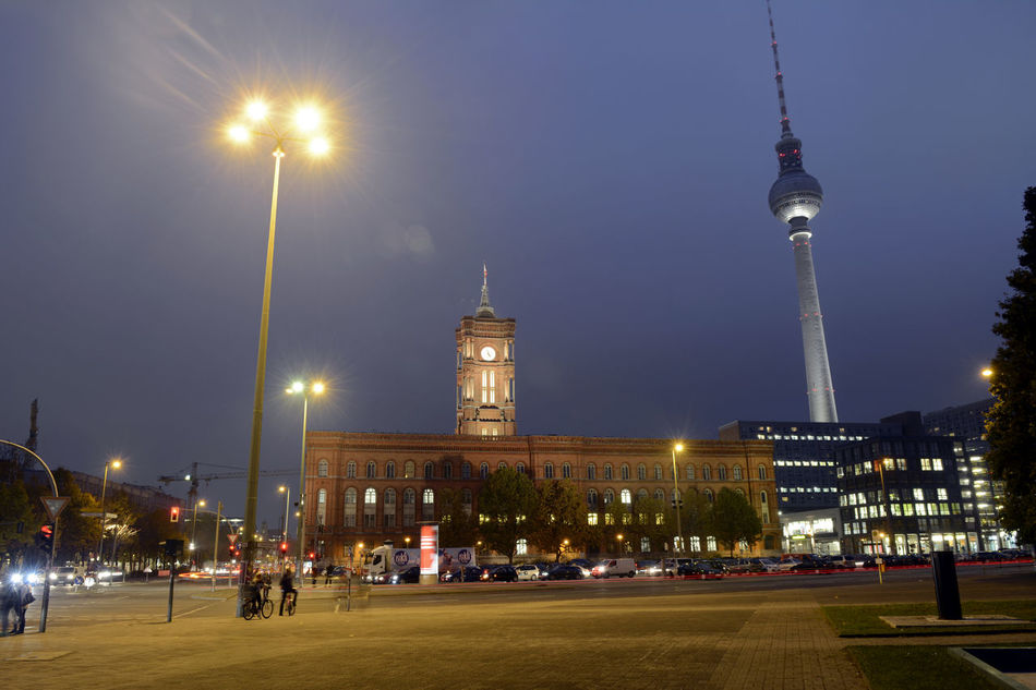 berlin at night Architecture Berlin Built Structure Capital Capital Cities  City City Life Cityscape Dusk Evening Famous Place Germany Night Outdoors Red Town Hall Television Tower Tower Towh Hall Travel Destinations Urban