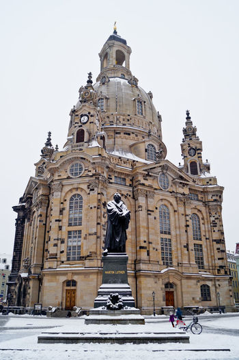 Architecture Astronomical Clock Building Exterior Built Structure City Clock Day Dome Façade Frauenkirche Gold Colored Low Angle View Luther Martin Luther Minimalist Architecture No People Outdoors Sculpture Sky Statue The City Light Travel Travel Destinations