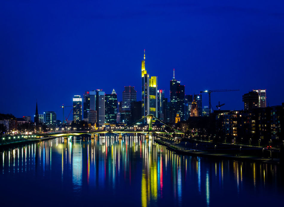 City Lights. Blue Bluehour City Citylights Cityphotography Clear Sky Financial District  Frankfurt Am Main Illuminated Landscape Mainhattan Modern Night Photography Reflection River Skyline Urban Skyline Water First Eyeem Photo Hometown Home Bornandraised Landscape_photography Colors