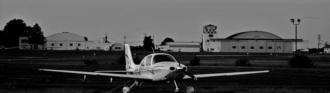 Architecture Built Structure Building Exterior Clear Sky Outdoors Journey Sky No People New Jersey Photography Njphotographer Airport Airplane Dark Black And White Monochrome Blackandwhite New Jersey Nj Black & White Mode Of Transport Transportation Cesna Small Airplane Airport Travel Aircraft