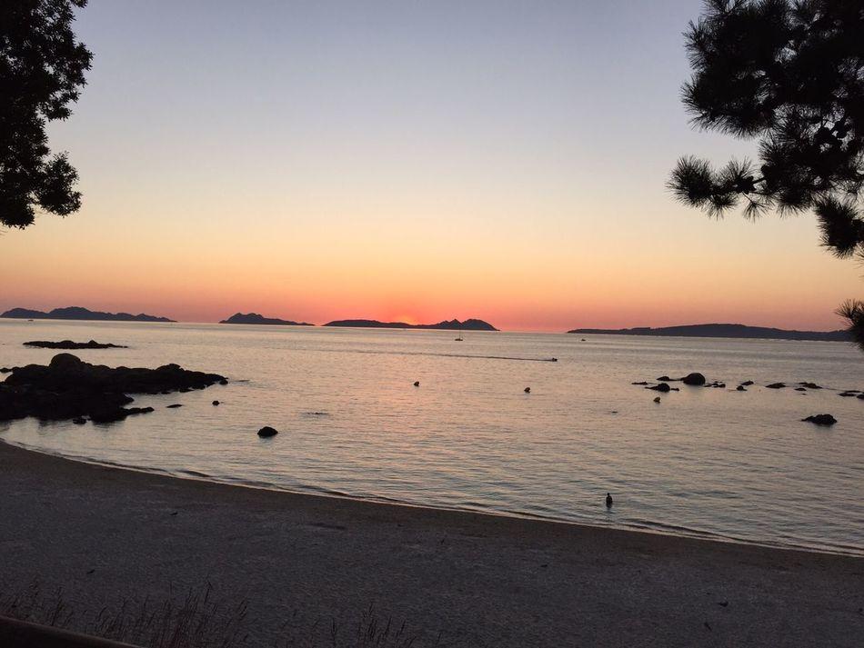 Beach Summer Sunset Sand Sea Water Horizon Over Water Landscape Beauty Vigo Outdoors SPAIN Galicia Spain