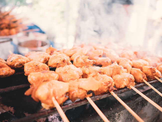 chicken grill Asian Food Barbecue Barbecue Grill Close-up Day Food Food And Drink Freshness Grilled Healthy Eating Heat - Temperature Large Group Of Objects Market Meat No People Outdoors Ready-to-eat Retail  Skewer Smoke - Physical Structure Street Food
