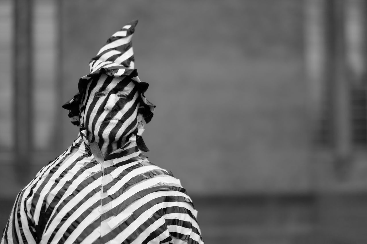 Focus On Foreground Striped Outdoors Day Close-up Artist Portrait Unrecognizable Person Zebra Standing People Man Portraits Portraiture EyeEm Best Shots Check This Out Black And White Monochrome Human Statues in London , United Kingdom