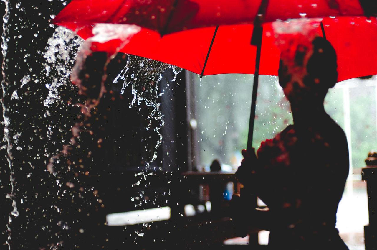 Close-up Day Indoors  One Person Rain Raining Red Umbrella Water Wet Women
