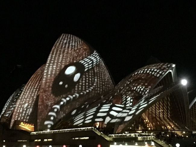 Izzymaxie Vivid Sydney light and ideas show Opera House as backdrop for art and light show Indigeneous motifs/design VIVID Sydney Opera House Lighted Structure Indigenous Design Lightshow Nightphotography Australia