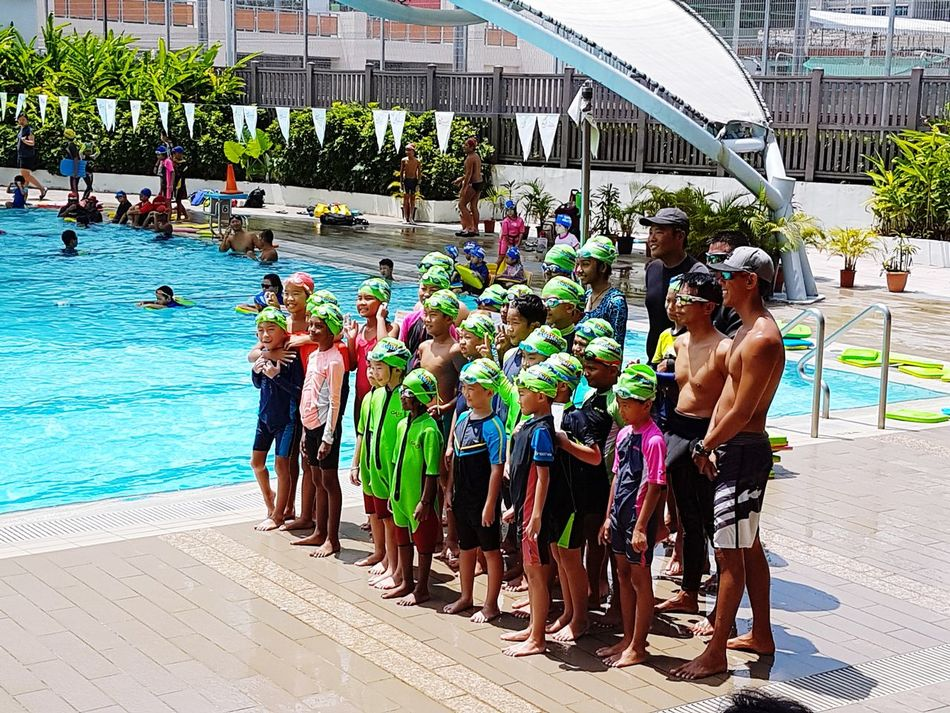 Swimming pool unity anticipating excited waiting qualified