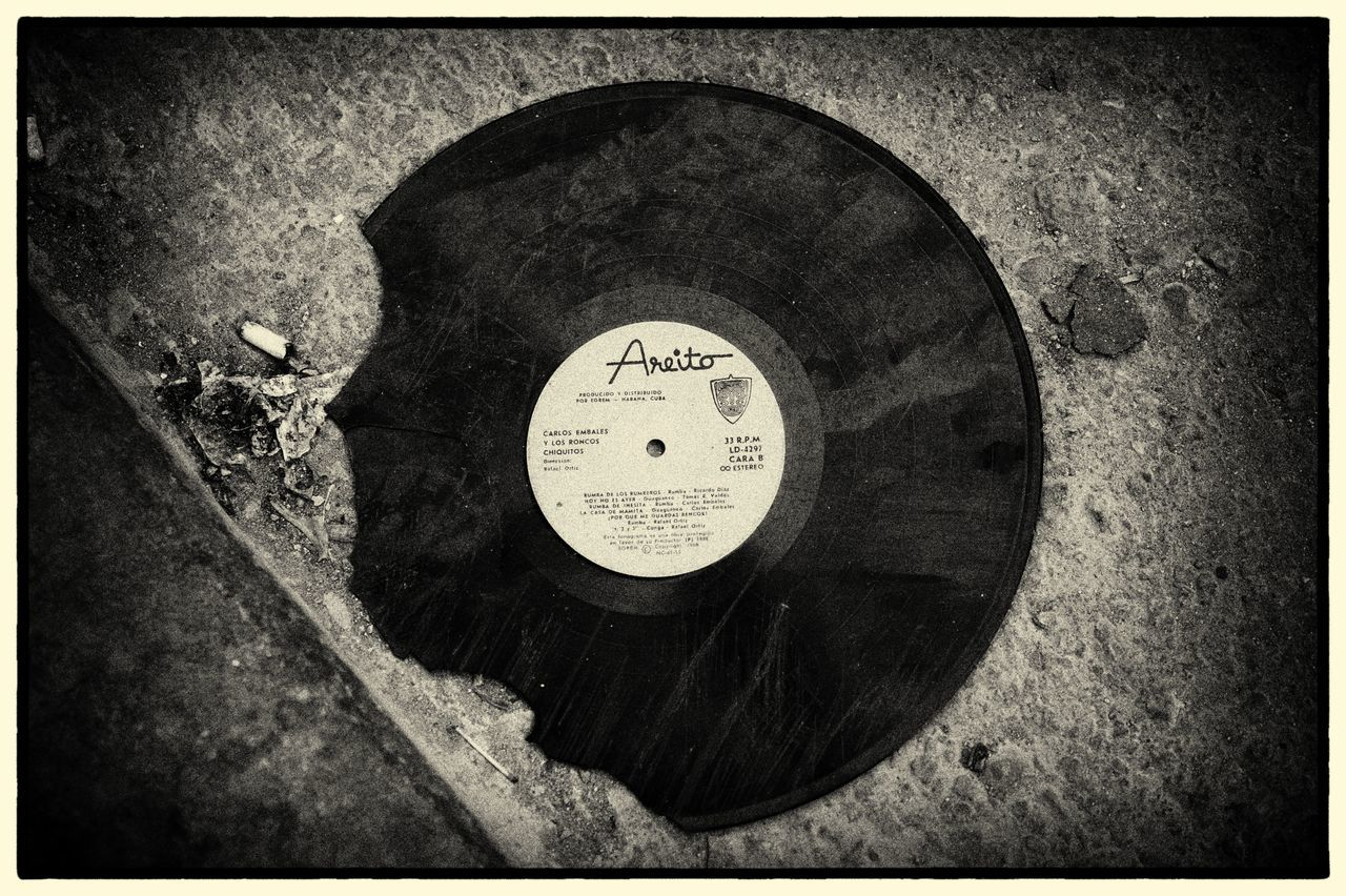 Cracked Record Cuba Havana La Bamba Music Auto Post Production Filter Circle Close-up Day No People Old-fashioned Outdoors Street