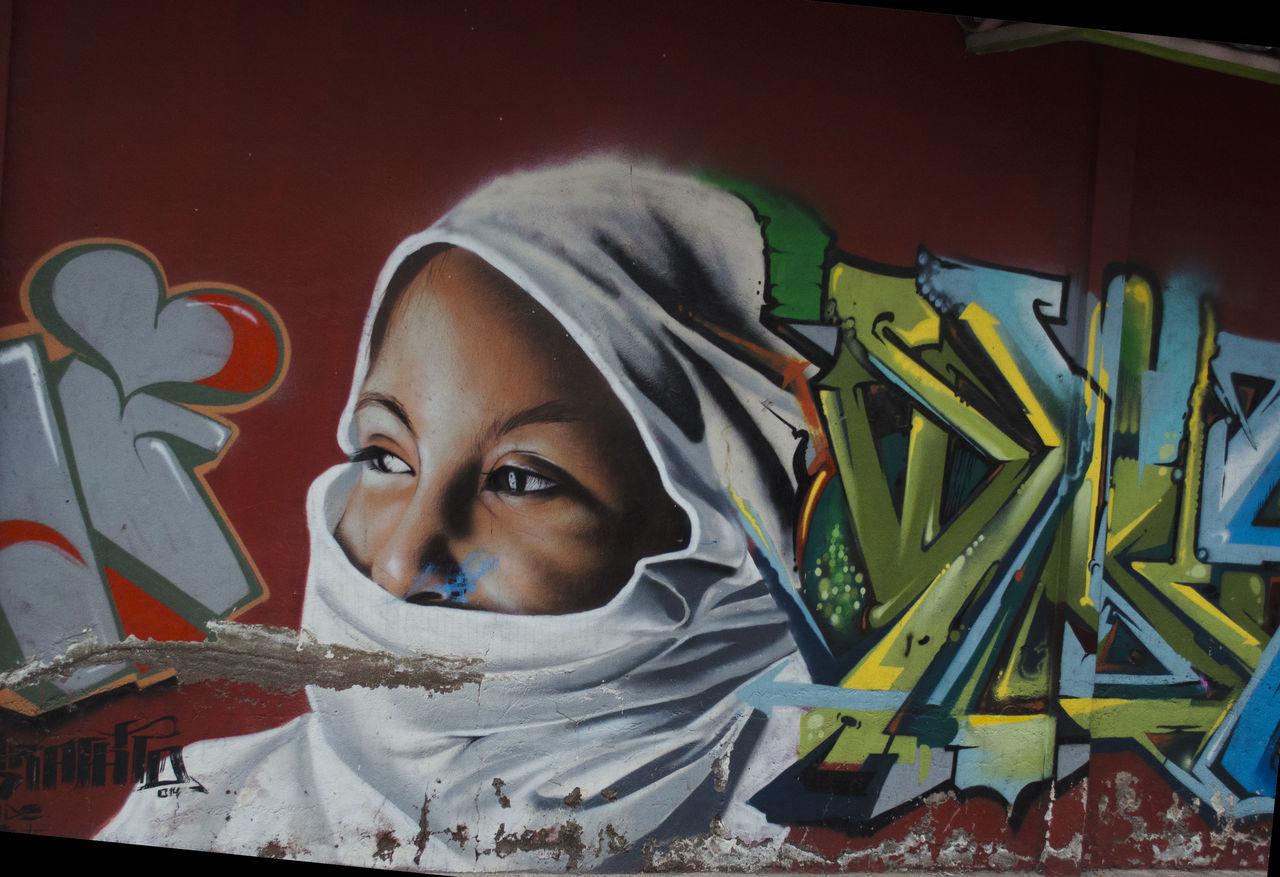 Adult Colors Graffiti Hiyab Muslim One Person Only Women Sight Street Art Woman Young Women