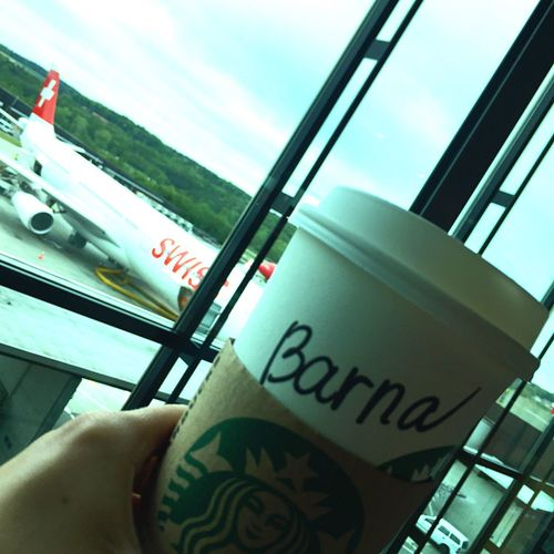 Human Hand Transportation Travel Real People Window Sky People Flight Swissair Swiss Airlines Airport Coffee Starbucks Starbucks Coffee Airplane
