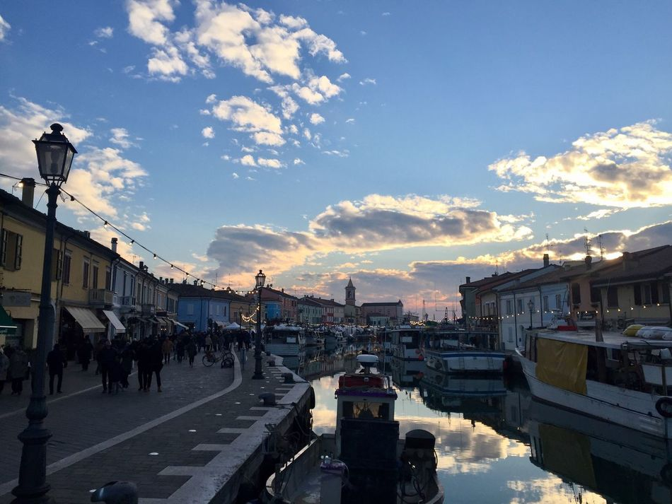 Hometown! Sky Architecture Cloud - Sky Built Structure Building Exterior Large Group Of People Transportation Outdoors Cityscape Arts Culture And Entertainment Italy Travel Tourism Portocanale Cesenatico Boat Fishermen's Life Fisherman Boat Fishboat Harbor