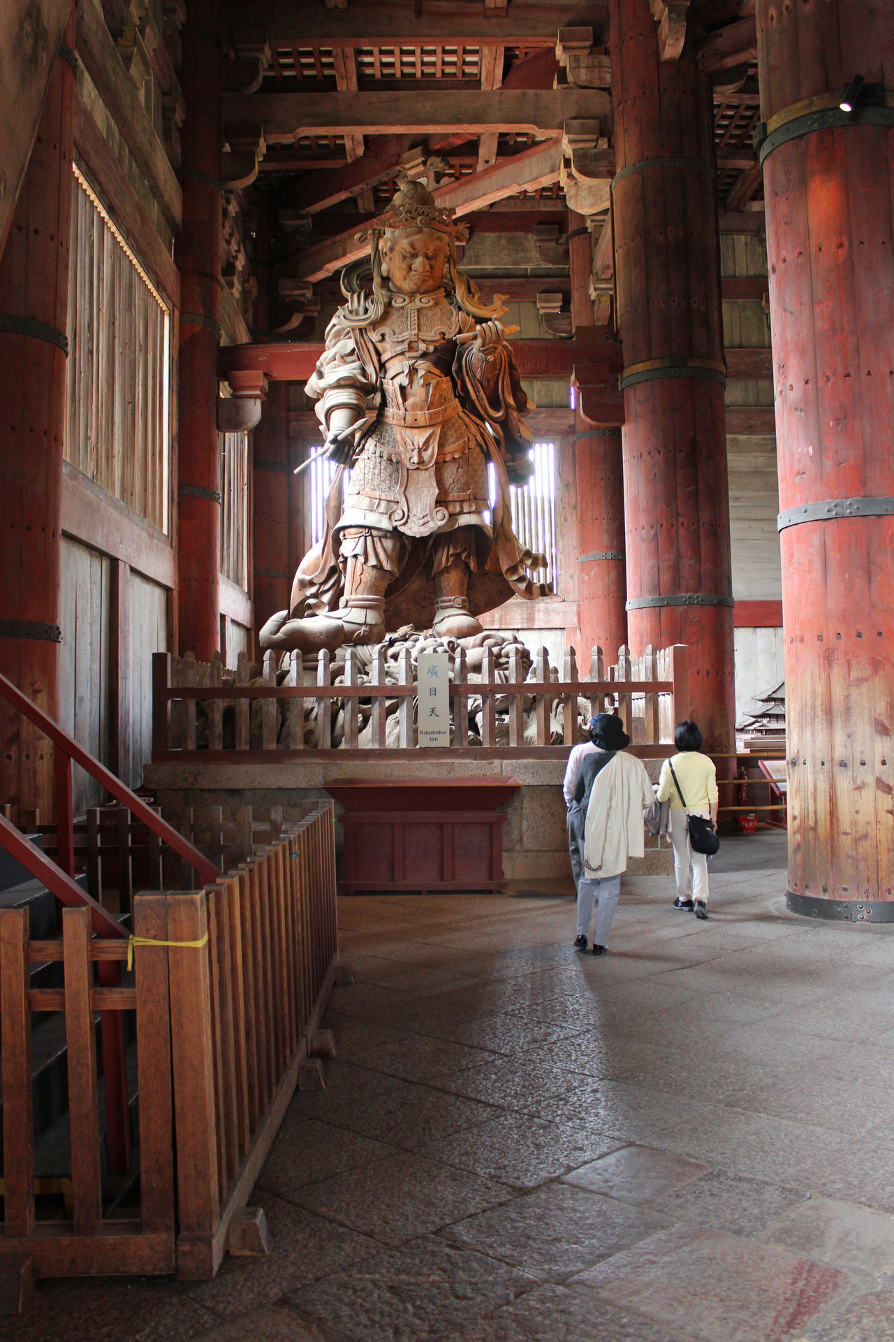 Visitors are small when walk through this huge statue at Todaiji Temple, Nara 2 People Buddishm Buddist Temple Columns God Hugh Japanese  Komokuten Nara,Japan Statue Todaiji Temple