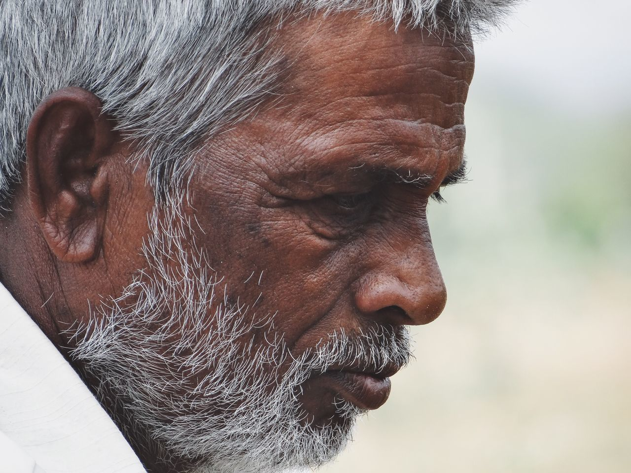 Pensive villager Close-up Outdoors Pensive Mood Facial Expression Villager Farmer Indian Asian  Portrait People Grey Old Old Age Grey Hair Hipster Beard Facial Hair