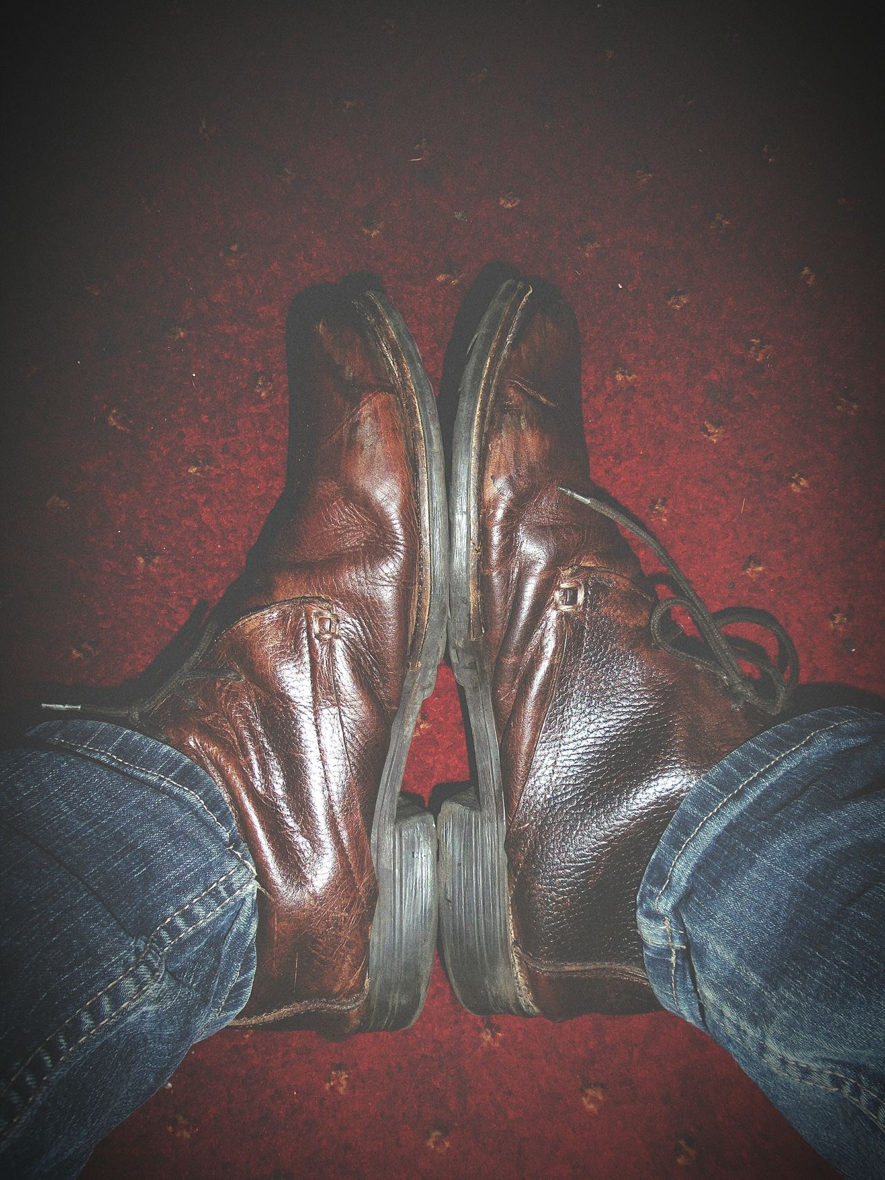 Boots Blue Jeans Feet Brown Leather Shoes Creative Light And Shadow Shadows & Lights Lookingdown EyeEm Best Shots Together