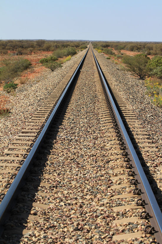 There's just something special about standing in the middle of a railway track! Blue Sky Convergence Converging Lines Day Distance View Forever Infinity Low Vegetation Nature No Clouds No People Outback Australia Outdoors Rail Transportation Railroad Track Railway Gauge Railway Track Rocks On Trainline Sky Steel Railway The Way Forward Transportation Vast Vastness Vastness Of Nature