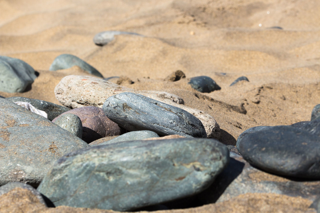 beach, sand, rock - object, nature, no people, outdoors, day, pebble, close-up