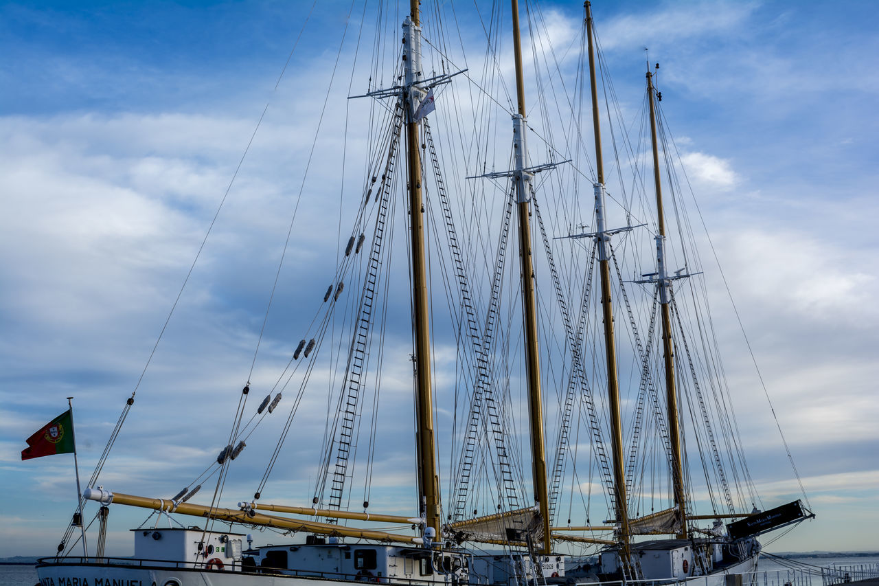 Cloud - Sky Day Mast Mode Of Transport Moored Nautical Vessel No People Outdoors Rigging Sailboat Sailing Sailing Ship Sea Sky Tall Ship Transportation Travel Water Waterfront