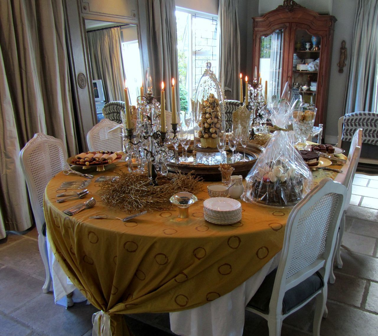 Golden Visual Feast ~ Architecture Candle Light Chair Curtain Day Dessert Dining Room Dining Table Drinking Glass Elégance Food Furniture Gold Colored Golden Home Interior Indoors  Luxury Napkin No People Place Setting Table Table Setting Tablecloth Visual Feast Wineglass