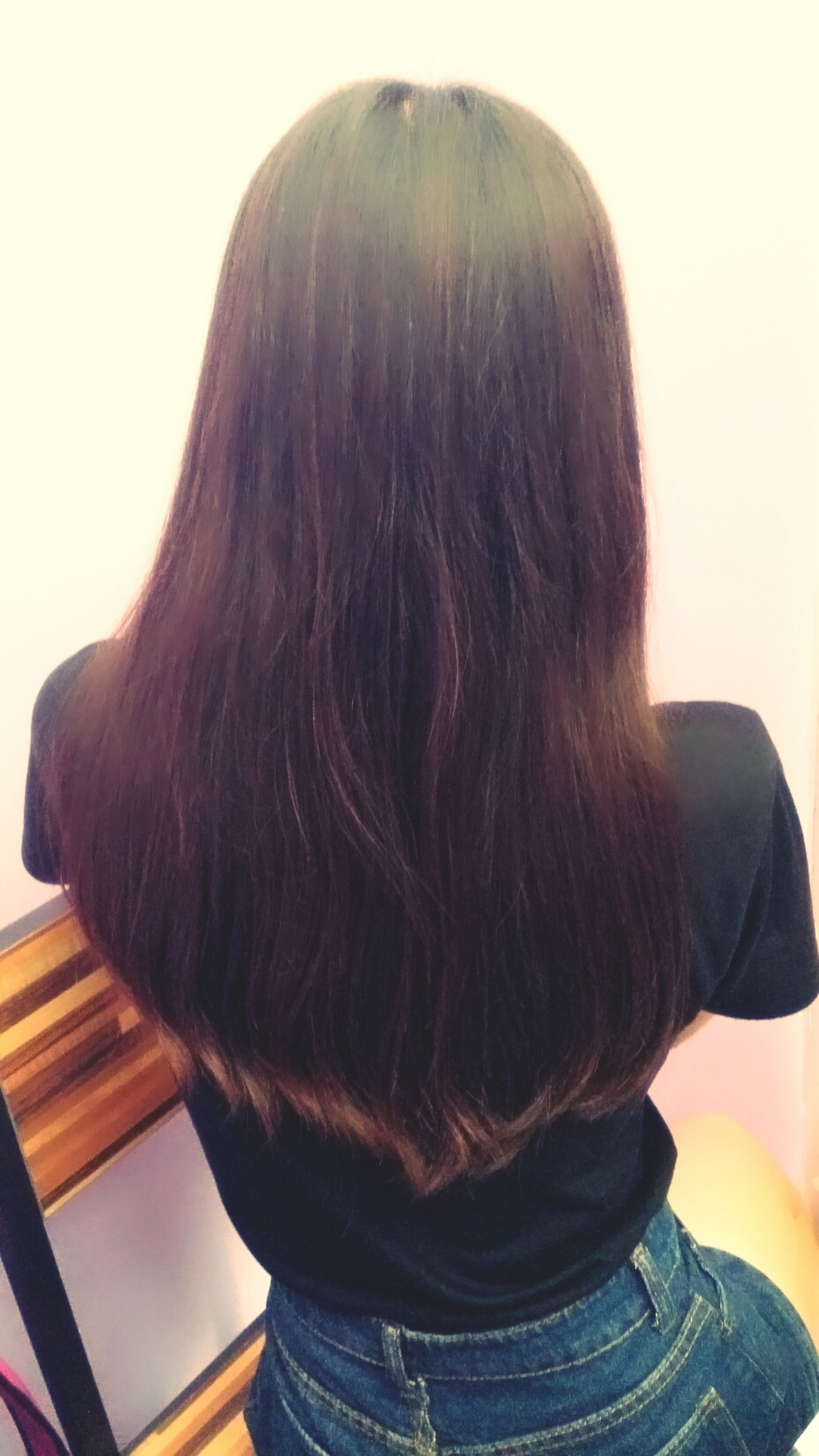 lifestyles, long hair, rear view, headshot, waist up, leisure activity, casual clothing, young adult, standing, person, young women, three quarter length, obscured face, brown hair, black hair, clear sky, head and shoulders