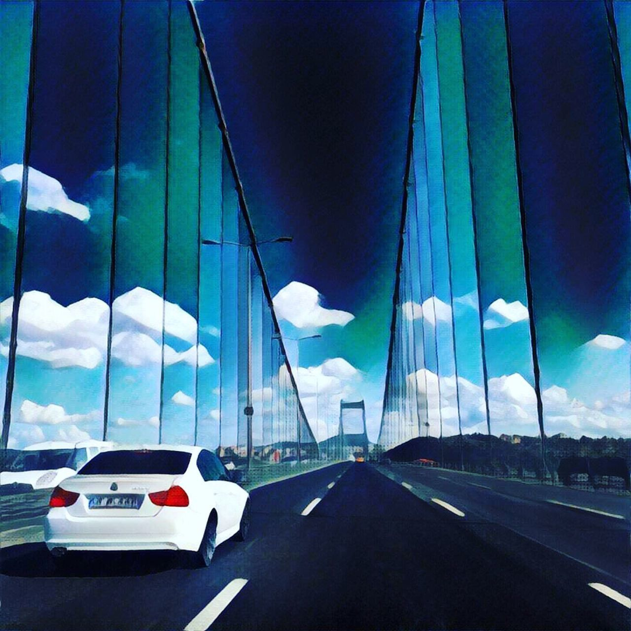 Bridge Invisible Wall Digital Art Digital Painting Invisible Tunnel Light Tube Light Tunnel Digital Manipulation Car Sky Clouds Cloud Break The Mold