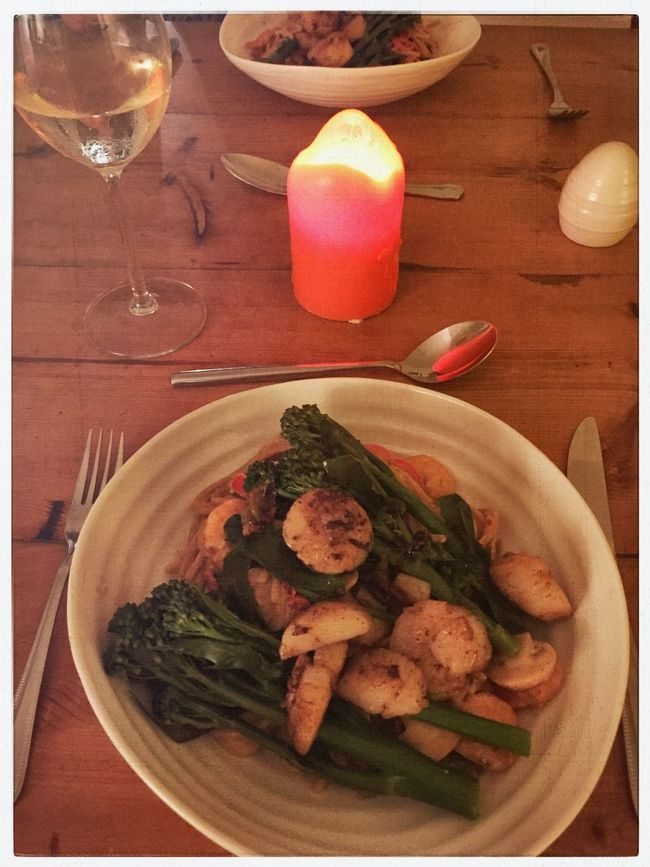Scollops for dinner Scollops Brocolli Candle Light Food Home Cooking Home Cooked Cookery Dining Home Cooked Meal Homemade