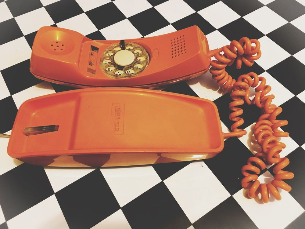 Found this, buried inside a wall during renovations 😃 High Angle View No People Indoors  Rotary Phone Orange Color Checkered Why? Telephone EyeEmNewHere Phone Dial Phone Mobile Conversations Not Mobile Orange Love Colors! Colors Bored Black And White Simple Buried Treasure Treasures Small Things Retro Old But Awesome Art Is Everywhere