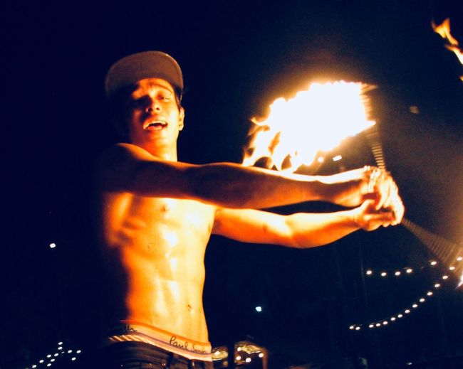 Fire One Person Real People Heat - Temperature Flame Outdoors Men