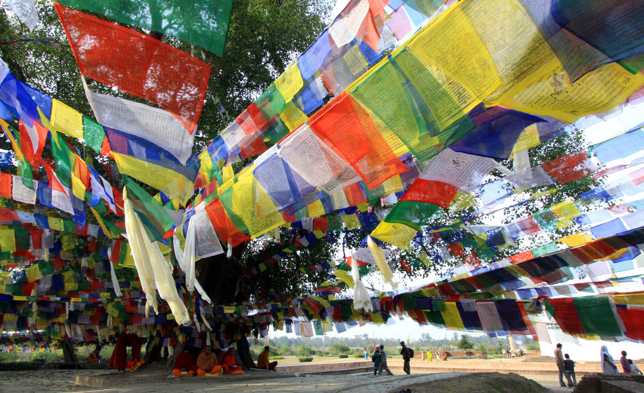 Multi Colored Outdoors Nature Nepal Mayadevi Mayadevi Temple Lumbini, Nepal The Birthplace Of The Lord Buddha Linden Tree Tarchog Lungda Five Colors Flag